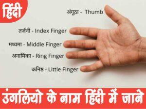 Fingers Name in Hindi | उंगलियों के नाम हिंदी में