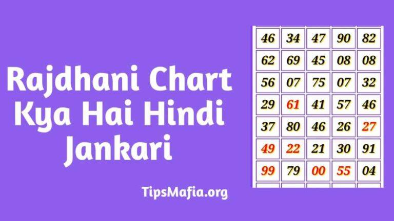 Rajdhani Day Chart, Rajdhani Night Chart – राजधानी चार्ट, राजधानी नाइट चार्ट